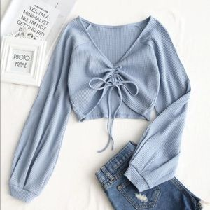 knitted baby blue longe sleeve